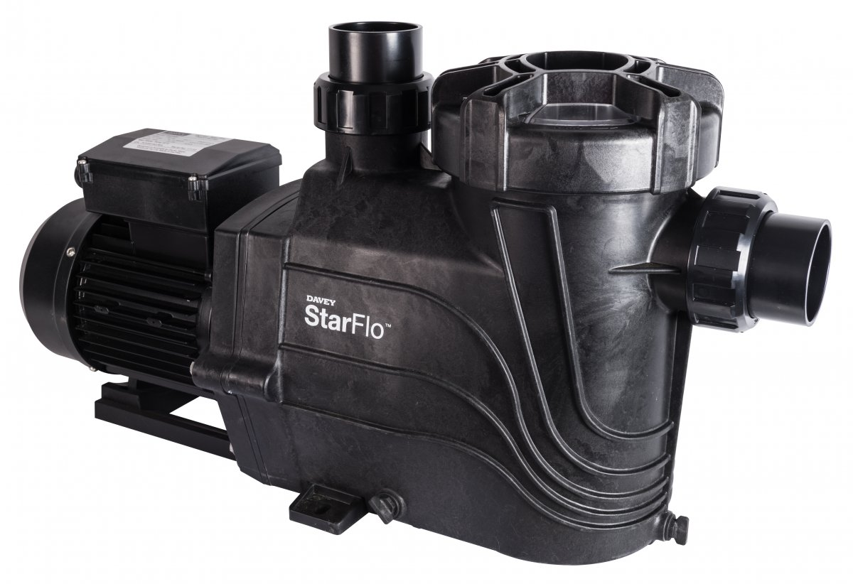 Black Davey StarFlo pool pump against a white background.