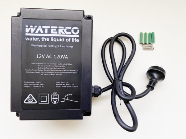 Black Waterco weatherproof pool light transformer against a white background.