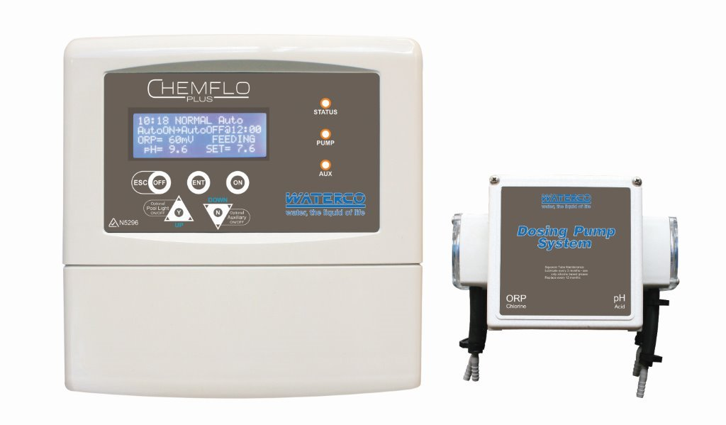 White Chemflo plus chemical automatic dosing system against a white background.