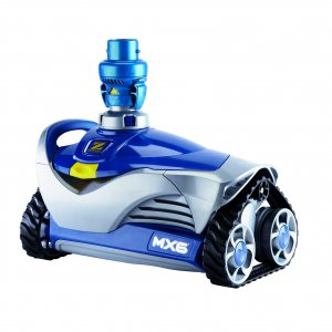 Blue and gray Zodiac MX6 automatic suction pool cleaner against a white background.