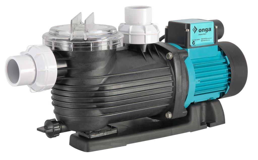 Black Onga Pantera pool pump against a white background.