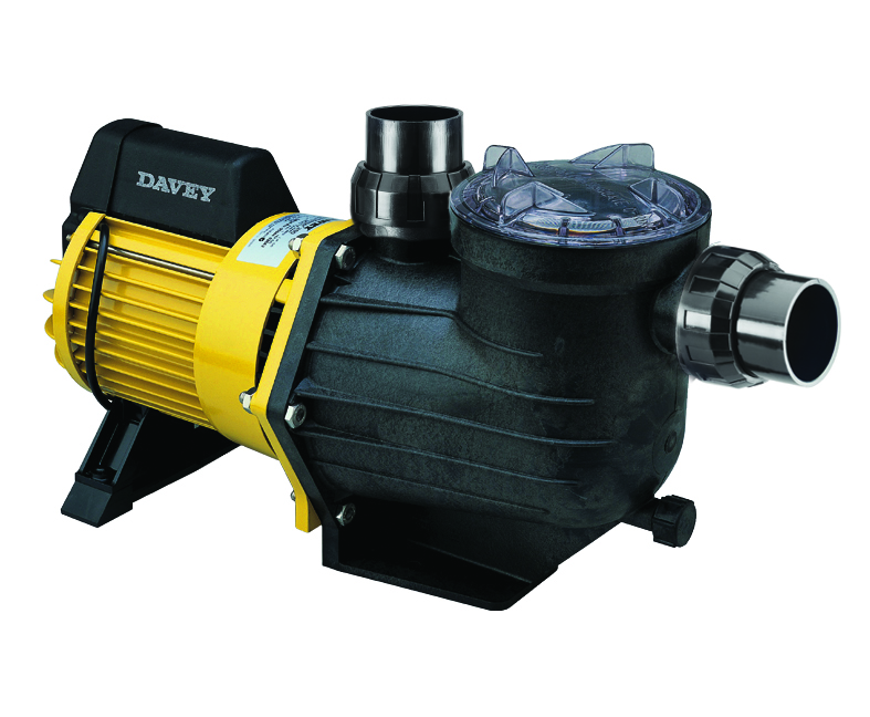 Black and yellow Davey swimming pool pump against a white background.