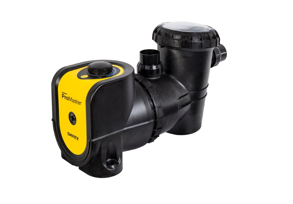 Black and yellow Davey ProMaster pool pump against a white background.