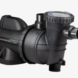 Black Silensor pool pump against a white background.