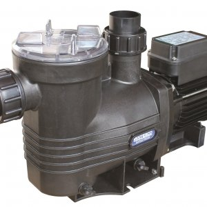 Black Waterco Supastream pool pump against a white background.