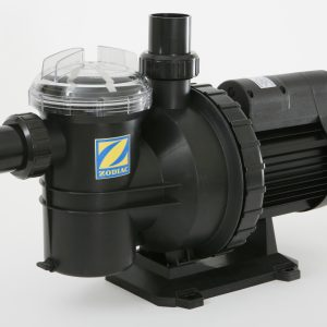 Black Zodiac pool pump against a white background.