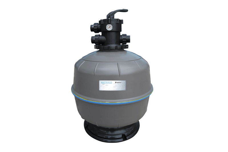 Gray Ecotuf sand filter against a white background.