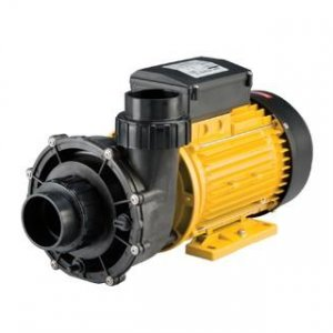 Black and yellow booster pump against a white background.