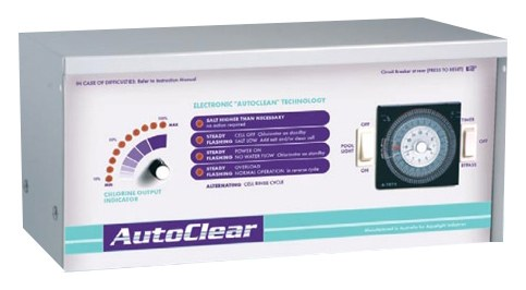 AutoClear salt chlorinator against a white background.