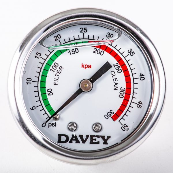 Davey pressure gauge for filters against a white background.