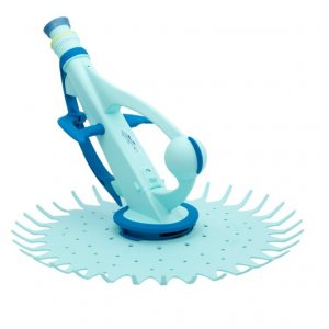 Aqua blue Hammerhead pool cleaner against a white background.