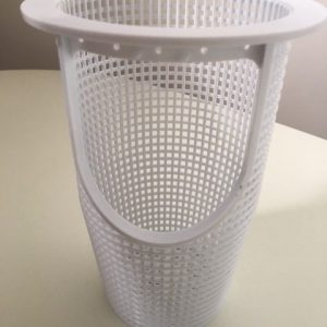 White pool pump basket.