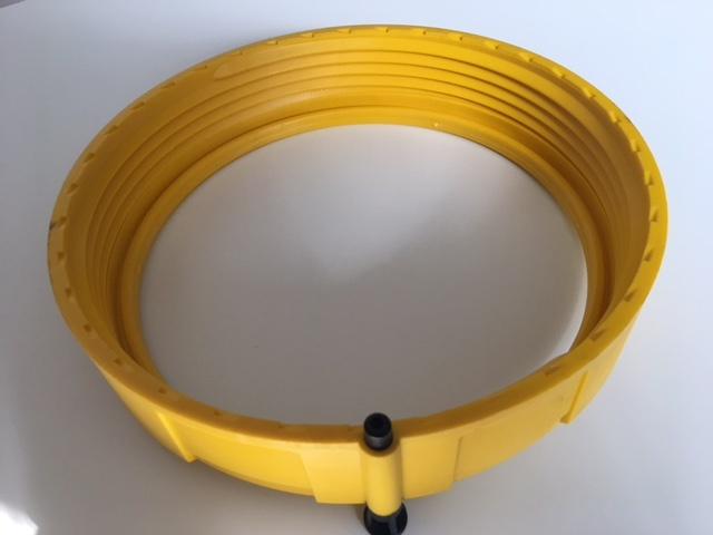 Yellow locking ring for Davey Easy Clear cartridge filters against a white background.