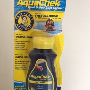 AquaChek pool and spa test strips in packaging.