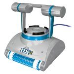 Gray and blue K-Bot RX 2 robotic pool cleaner against a white background.