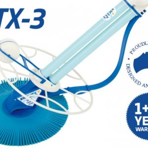 Blue Kreepy Krauly VTX-3 pool cleaner against a white background including warranty.