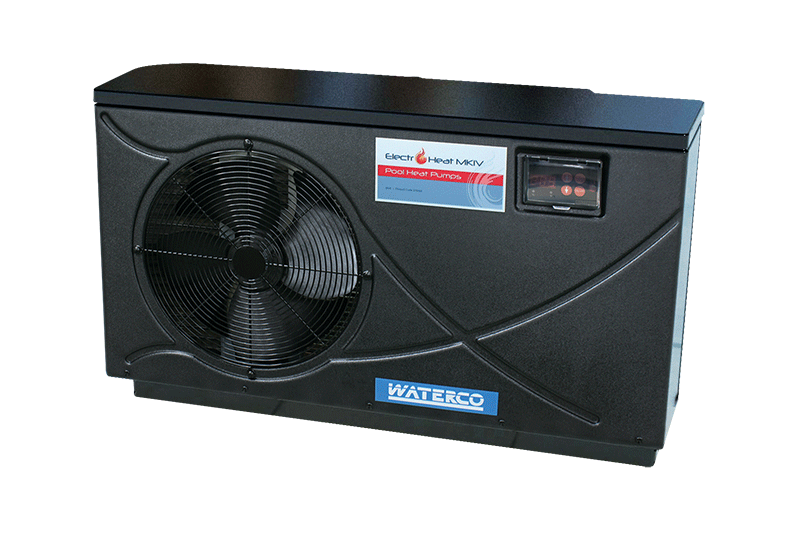 Black Electro Heat pool heat pump against a white background.