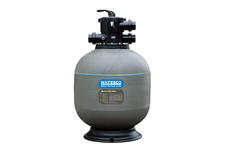 Gray Waterco sand filter against a white background.