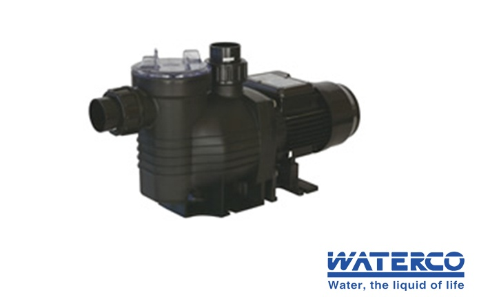 Black Waterco pool pump against a white branded background.