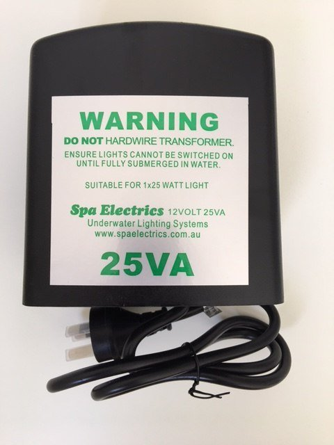 Black 25VA spa electrics underwater lighting transformer against a white background.