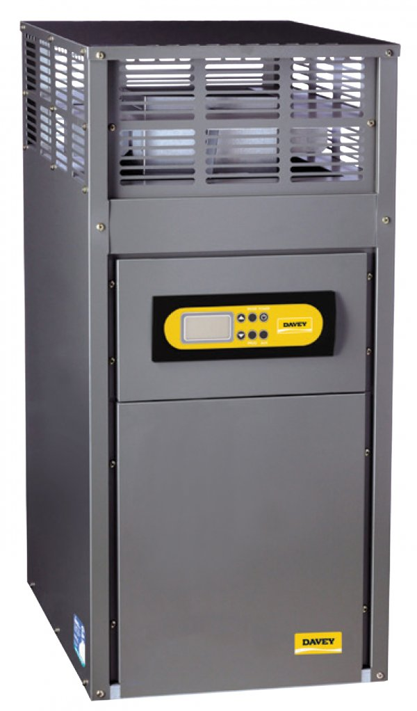 Black and yellow Rheem HX gas heater against a white background.