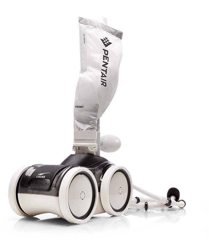 White Pentair Legend pressure pool cleaner against a white background.