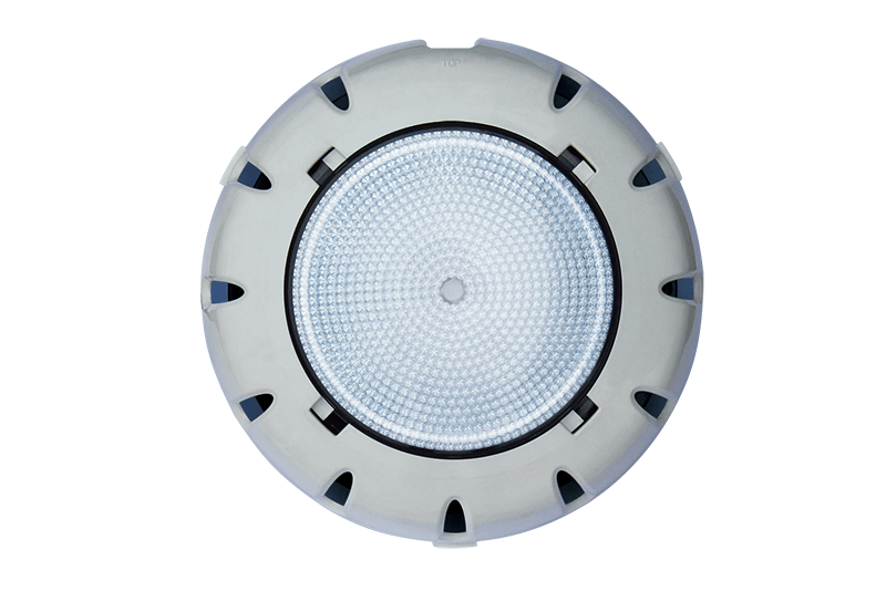 White Waterco LED pool light against a white background.