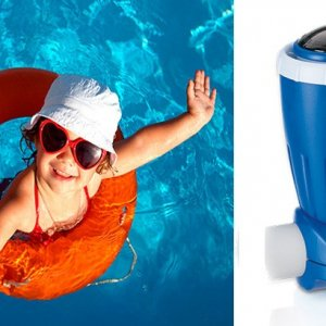 Zodiac Nature 2 Express pool water purifier with a happy customer as background.