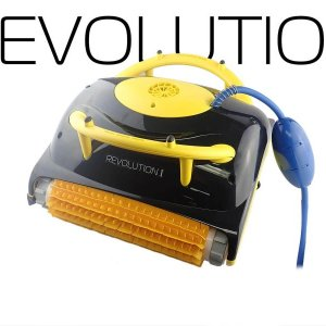 Davey robotic pool cleaner against a branded revolution background.