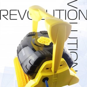 Yellow robotic pool cleaner against a white background.