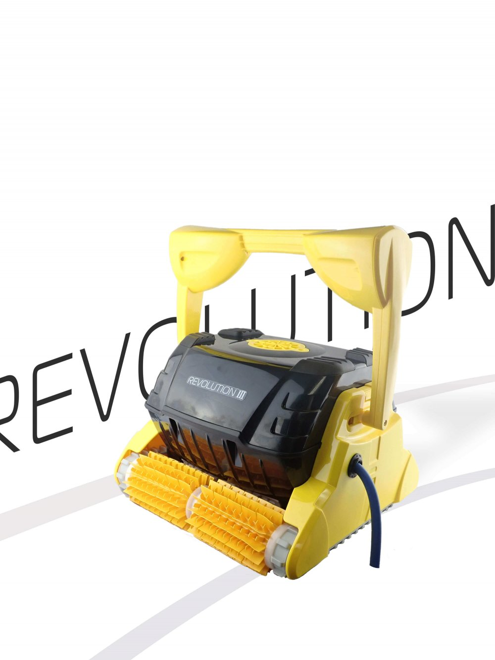 Yellow Revolution 3 robotic pool cleaner against a branded Revolution background.