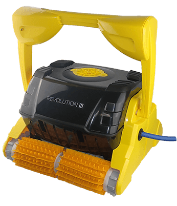 Yellow Revolution 3 robotic pool cleaner against a white background.