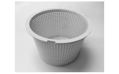 Gray Waterco skimmer basket against a white background.