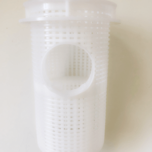 White pump basket against a white background.