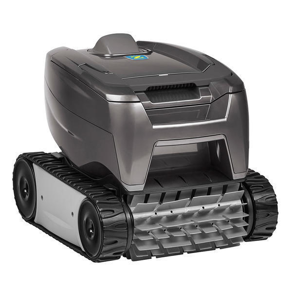 Black Zodiac OT15 robotic pool cleaner against a white background.