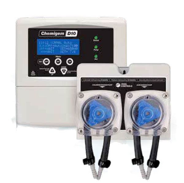 White Chemigem D10V chemical automatic dosing system against a white background.