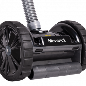 Black Maverick swimming pool cleaner against a gray and white background.