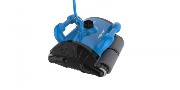 Blue and black Robetek ROBO-PLUS robotic pool cleaner against a white background.