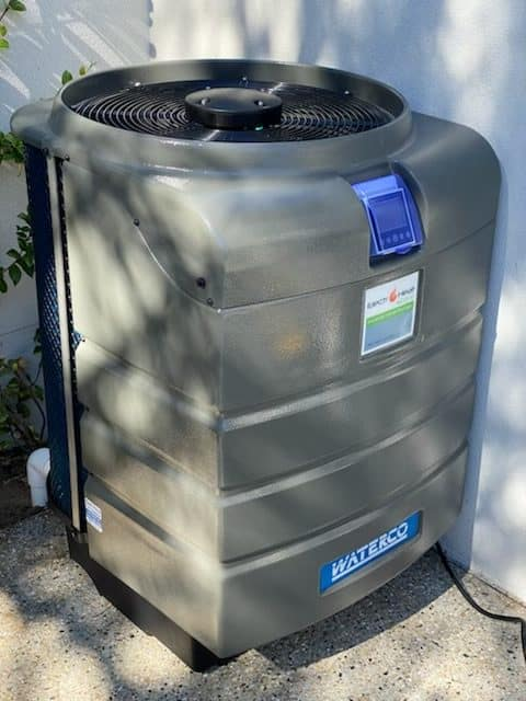 Waterco Electroheat ECO-V Inverter pool heat pump side view.
